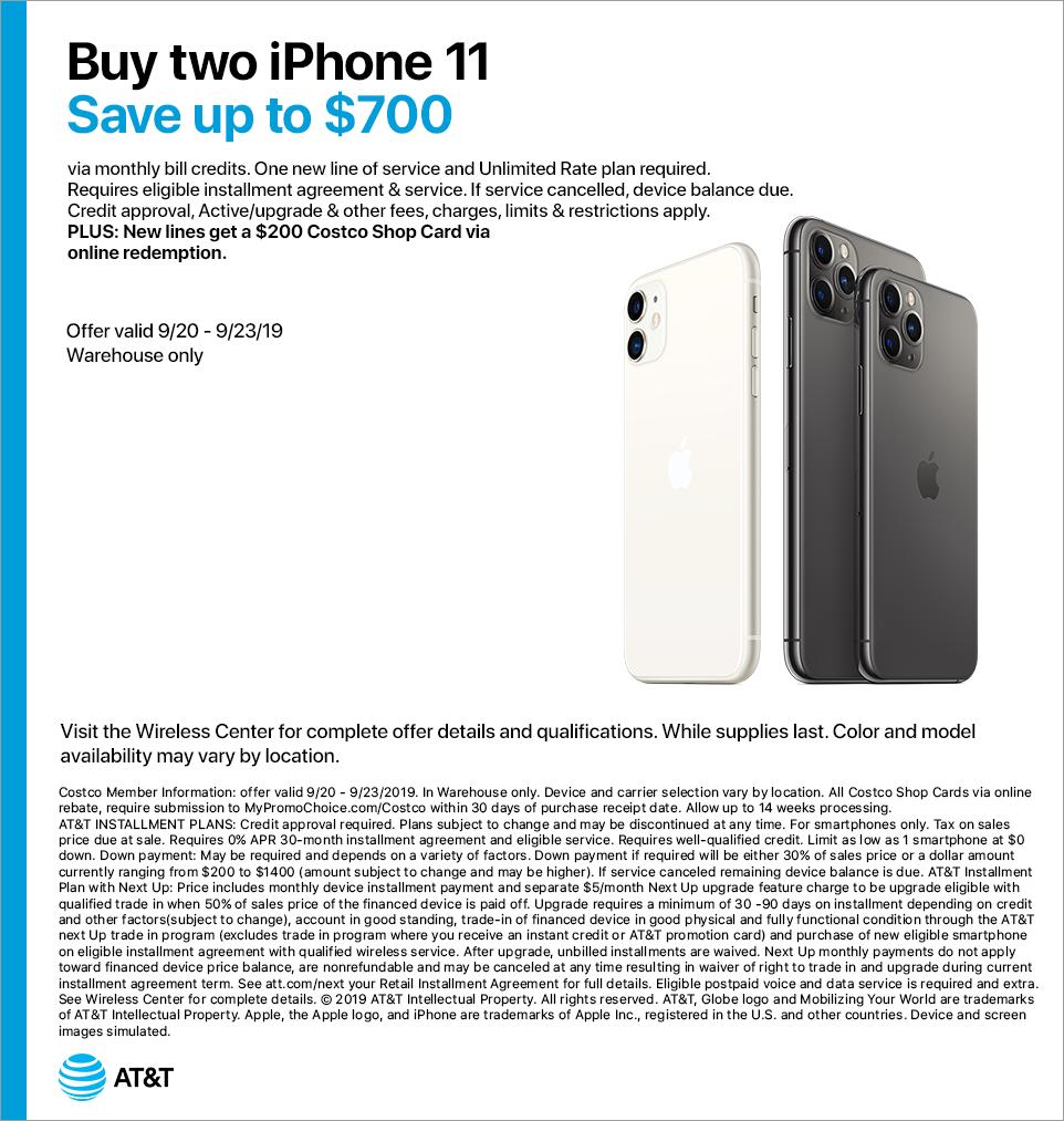 Costco At T Iphone 11 Bogo And New Line 200 Rebate