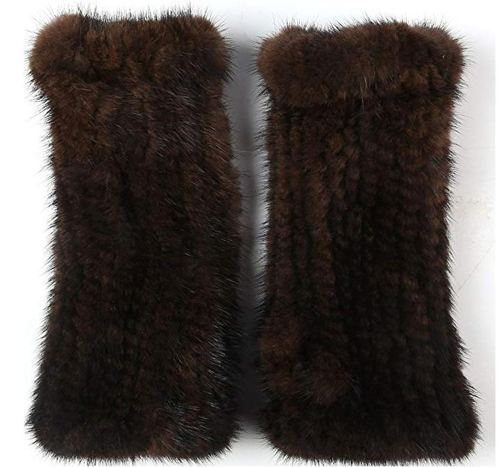 Womens Winter Mittens Knitted Mink Fur Gloves $27.19