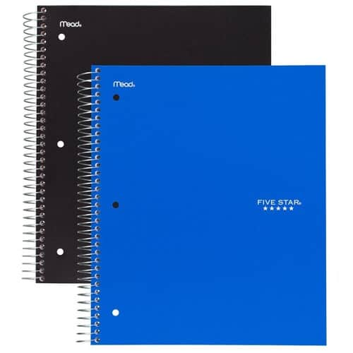 Pack of 2 Five Star Spiral Notebooks, 5 Subject College Ruled Paper(200 Sheets) $8.26