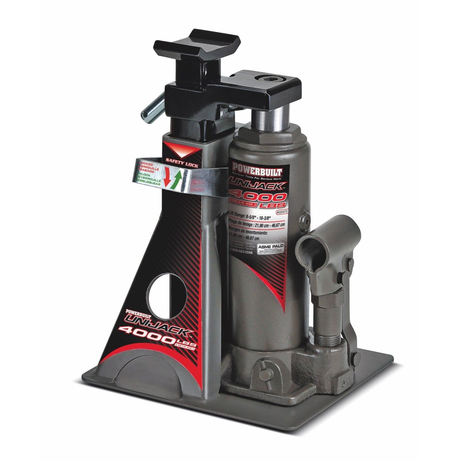 Powerbuilt 2 Ton (4000 lbs) UniJack Bottle Jack and Jack Stand All In One - 620470 $32.75
