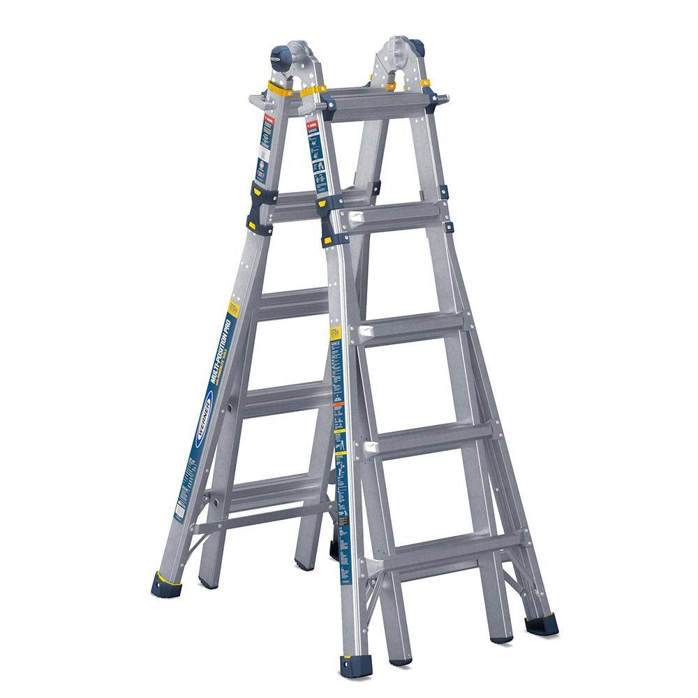 Werner 22 ft. Reach Aluminum 5-in-1 Multi-Position Pro Ladder with Powerlite Rails 375 lbs. Load Capacity Type IAA Duty Rating $148.99