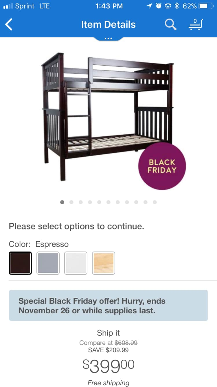 Max and Lily Twin over Twin solid wood bunk bed for $399 at Sams Club