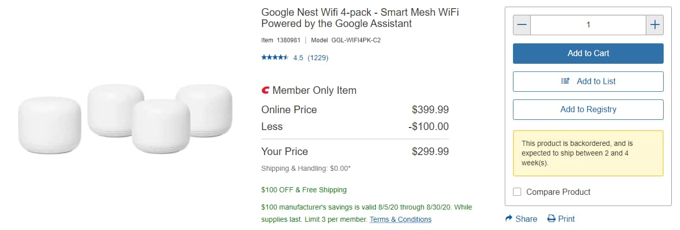 Costco Members Only - Google Nest Wifi 4-pack AC2200 - Smart Mesh WiFi Router with Three Add-on Points - In Store and Online - $299
