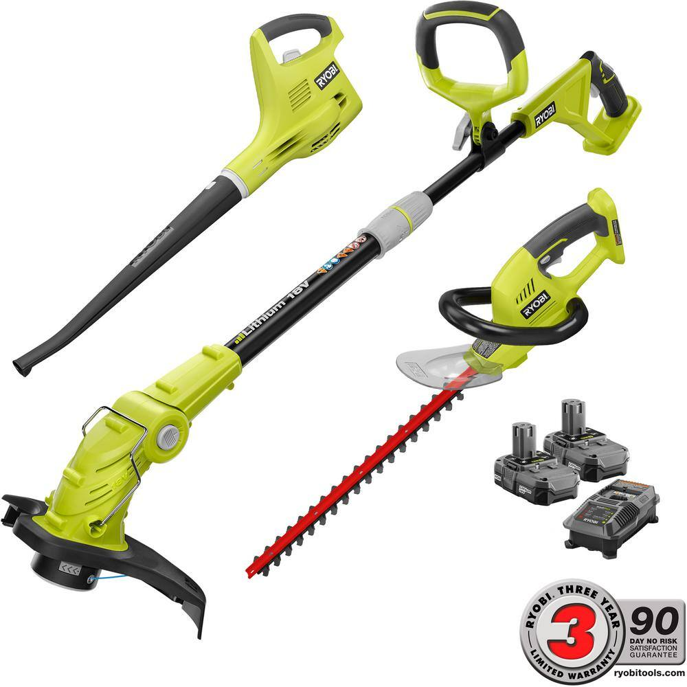 Ryobi ONE+ 18-Volt Lithium-Ion Cordless Trimmer/Blower/Hedge Combo Kit - Two 1.3Ah Batteries and Charger Included + FS - 7/29 ONLY $179