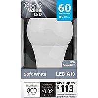 Walmart Deal: Walmart A19 8.5 Watt LED Light Bulb (60-Watt equivalent) $2.47 (without rebate/subsidies)