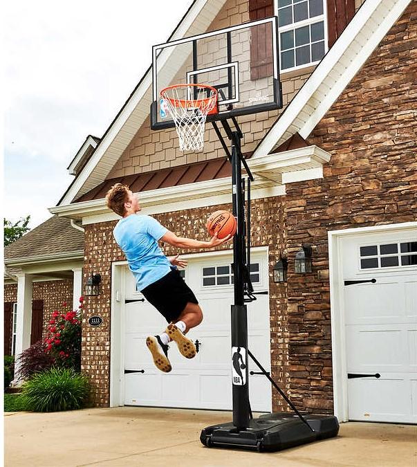 "$220 Costco B&M - Spalding Accuglide 54"" Acrylic Portable Basketball Hoop"