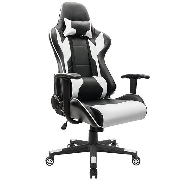 Homall Executive Swivel Leather Gaming Chair, Racing Style High-back Office Chair With Lumbar Support and Headrest (White) $99.99