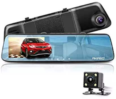1080P 5 Inch Touch Screen Mirror Dash Cam with G-Sensor, Night Vision, Reversing Camera, Parking Monitor $51.99