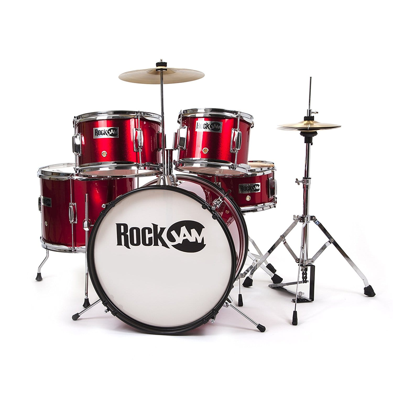 RockJam RJ105-MR Complete 5-Piece Junior Drum Set with Cymbals Prime $47.75