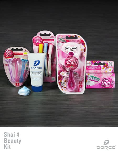 Dorco Shai 4 Beauty Kit 1 Handle 6 Cartridges 1 Shaving Creme 3 Eybrow Razor 3 Bikini Razor $7.74