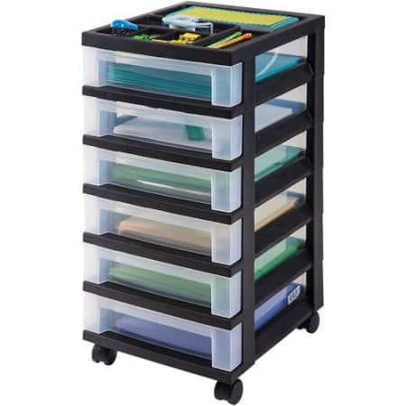 IRIS 6-Drawer Rolling Storage Cart with Organizer Top, Black Free Pickup $10.09