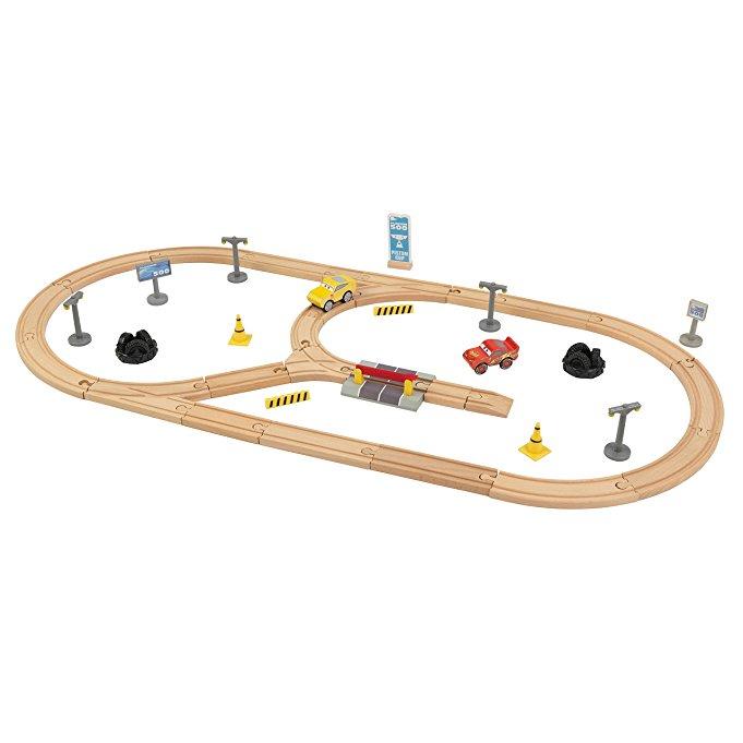 KIDKRAFT Disney Pixar Cars 3 Build Your Own 55 Piece Wooden Racetrack Prime $23.79