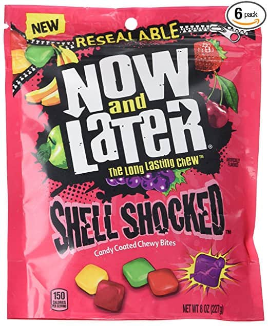 Now & Later Shell Shocked Fruit Chewy Bites Candy, 8 Ounce Bag, Pack of 6 $9.5