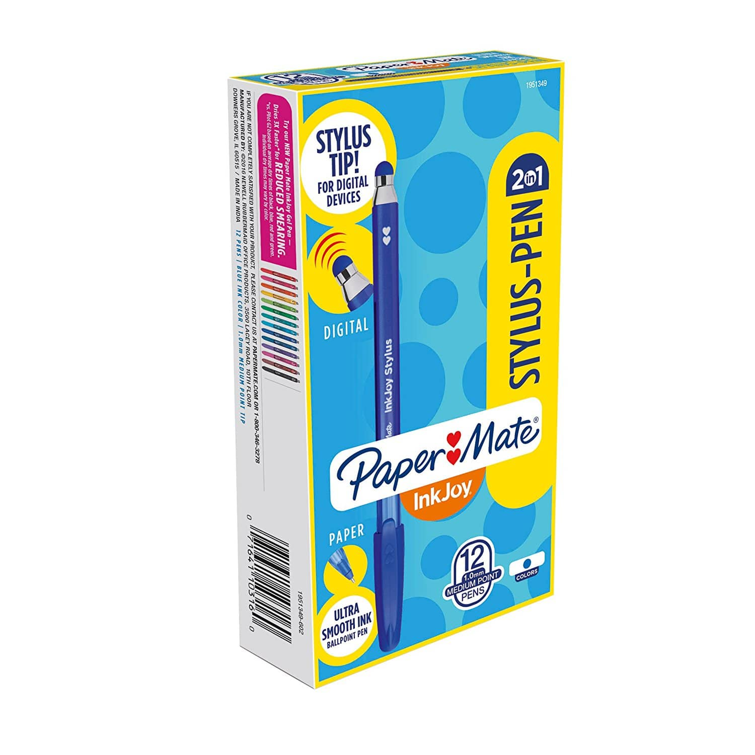 Paper Mate InkJoy 2 in 1 Stylus Ballpoint Pens, Medium Point, Blue, Box of 12 Add-on $7.31