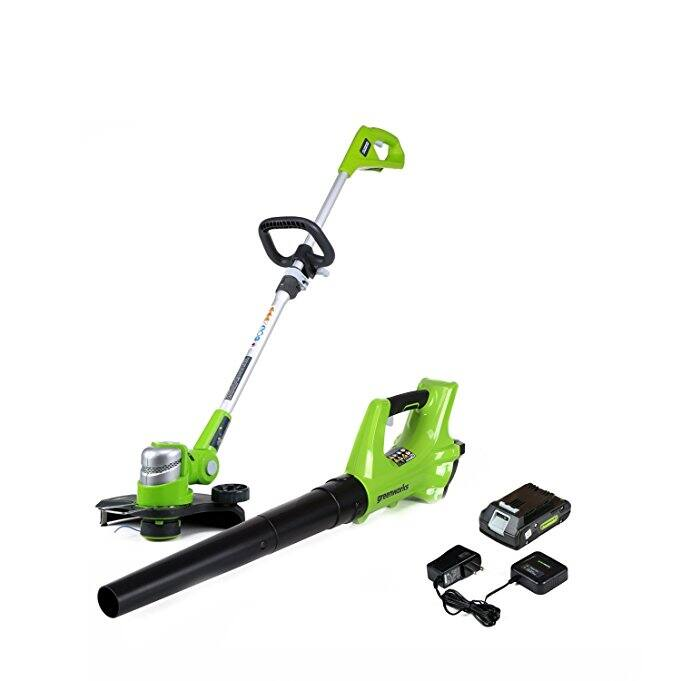 GreenWorks STBA24B210 24V Cordless String Trimmer and Blower Combo Pack FS $78.84