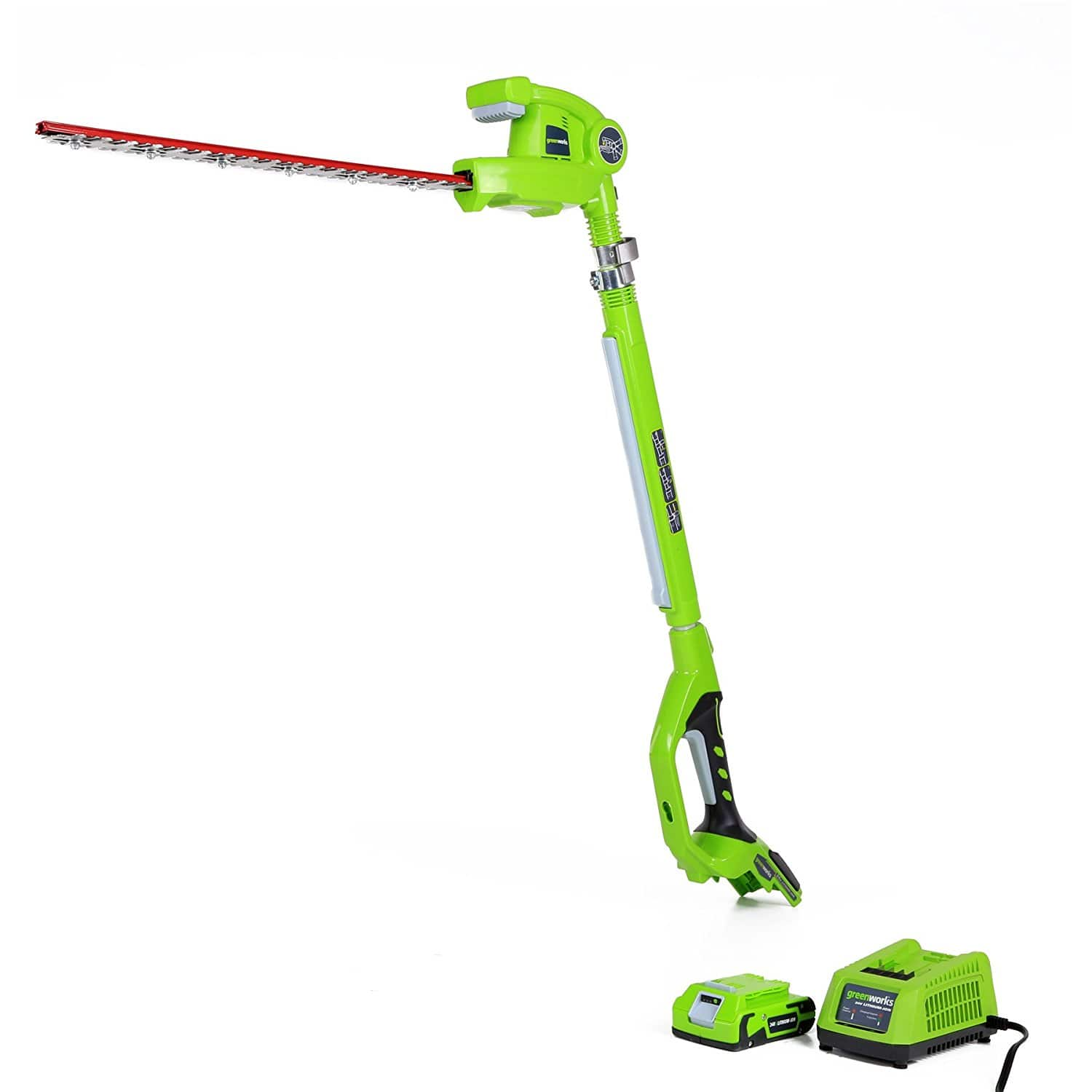 GreenWorks 22242 24V 20-Inch Cordless Pole Hedge Trimmer, 2Ah Battery and Charger Included FS $56.99