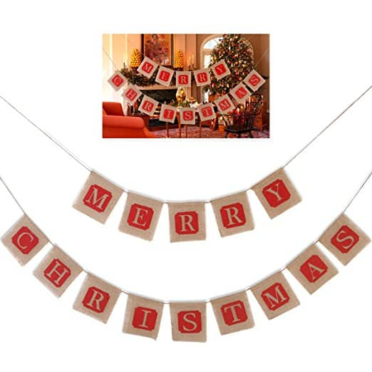 Tinksky Merry Christmas Burlap Banners Garlands for Holiday Party Decoration Prime $2.4