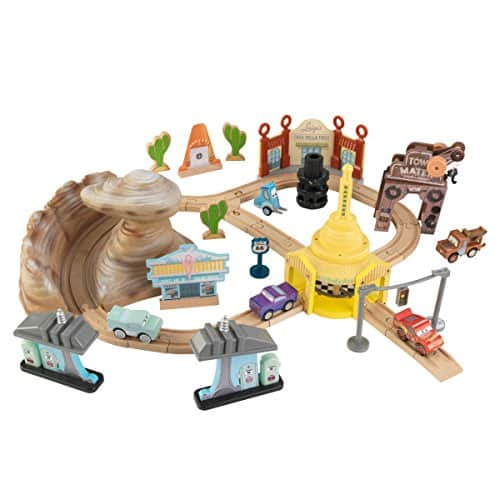 KIDKRAFT Disney Pixar Cars 3 Radiator Springs 50 Piece Wooden Track Set with Accessories FS $39.97