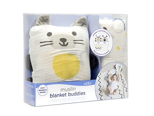 Ubbi Cotton Muslin Blanket Buddies: 2-in-1 Convertible Stuffed Animal and Blanket, Set of Two, Dog/Cat Prime $14.44