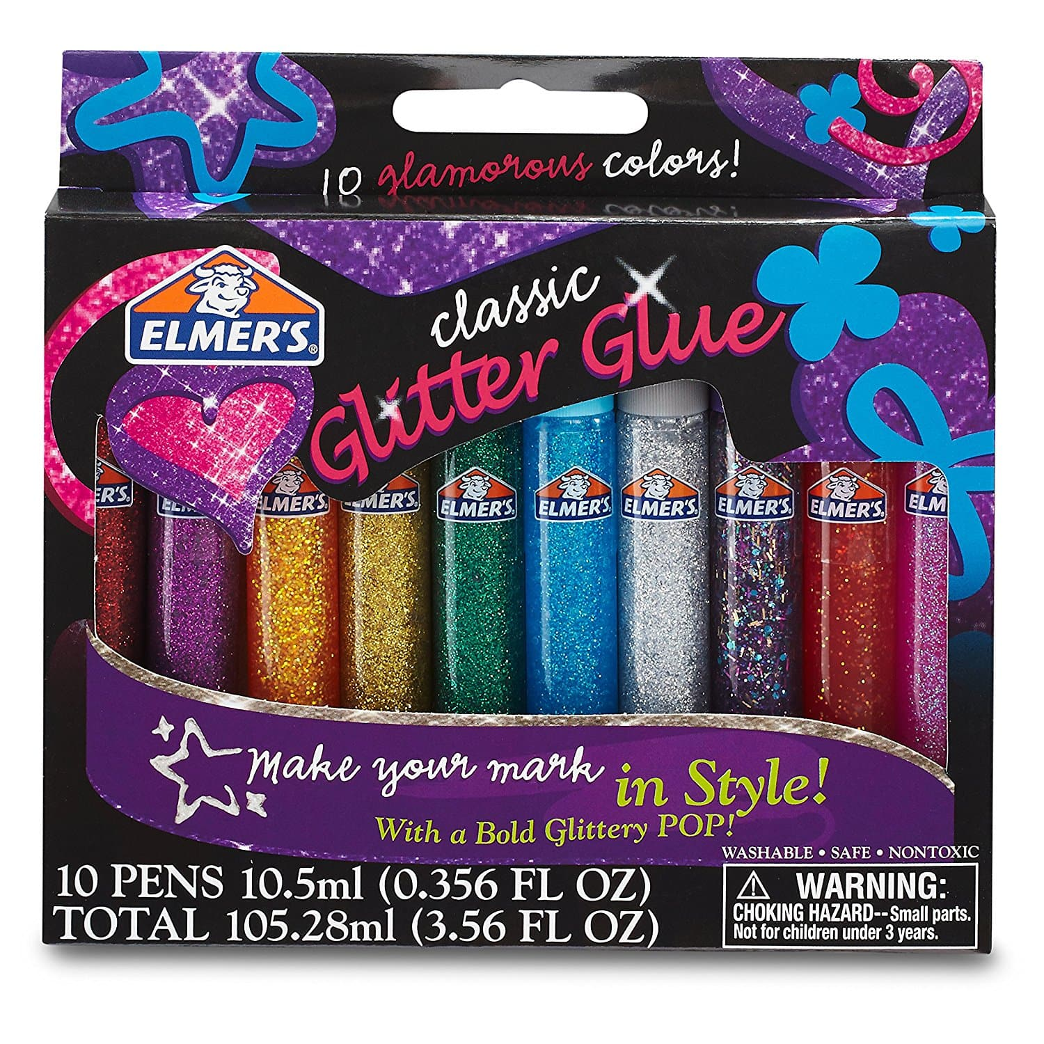 Elmer's 3D Washable Glitter Glue Pens, Classic Rainbow, Pack of 10 Pens  Add-On $2.99