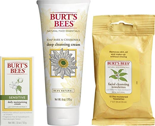 Burt's Bees Basic Face Care Kit, 3 Skin Care Products - Cleansing Towelettes, Deep Cleansing Cream and Sensitive Daily Moisturizing Cream Add-On $5.75