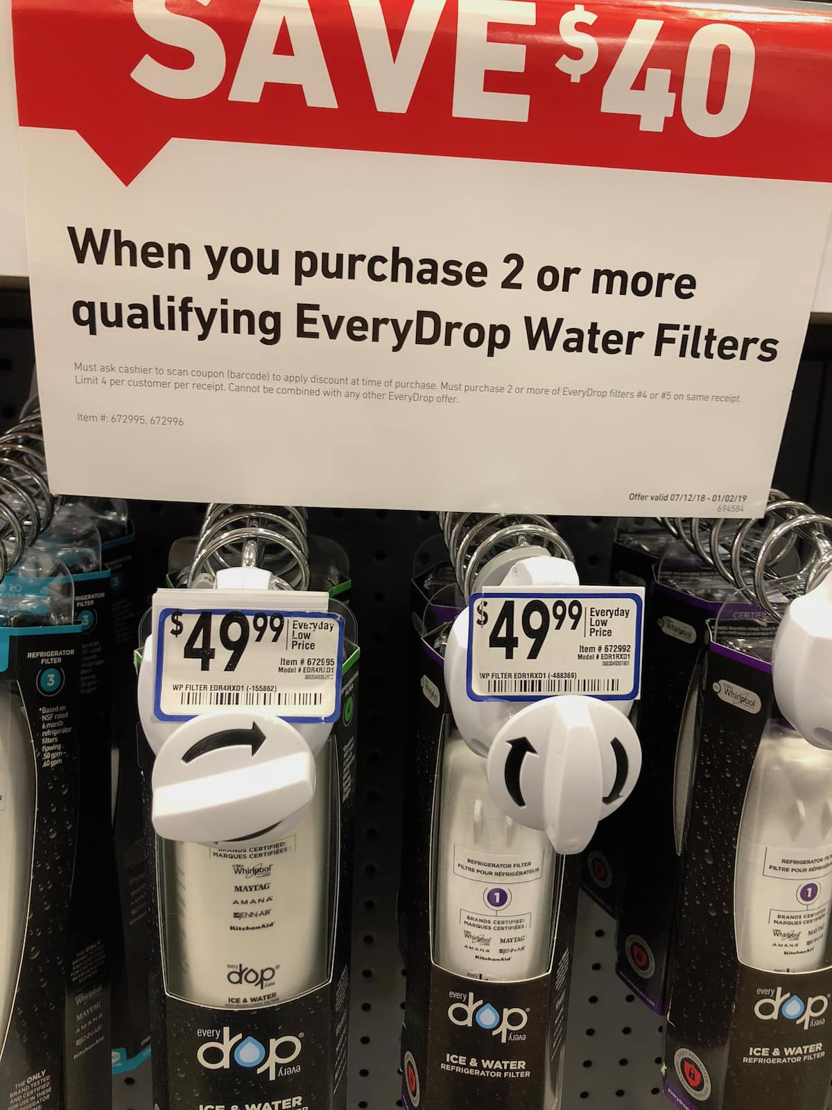 EveryDrop by Whirlpool Water Filter 4 & Filter 5 = $29 99/ea after