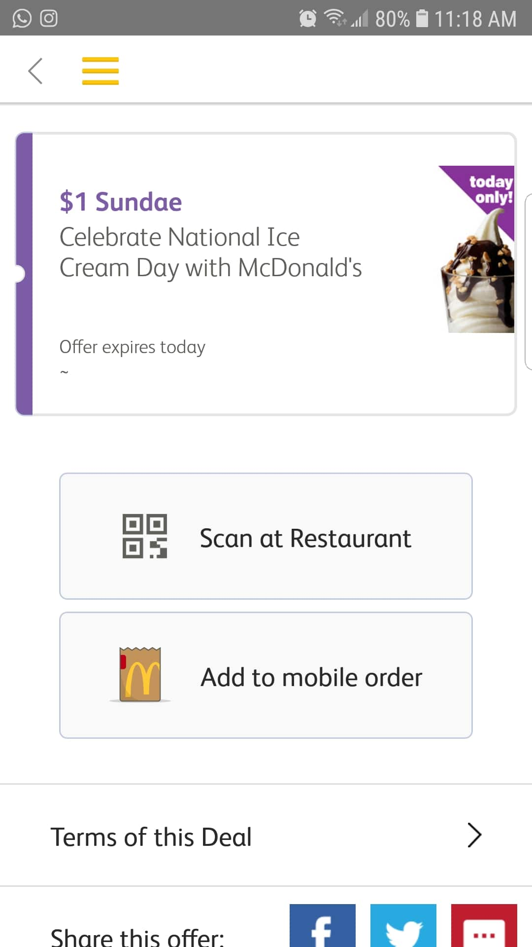 McDonald's $1 Sundae (for today only) *App only*