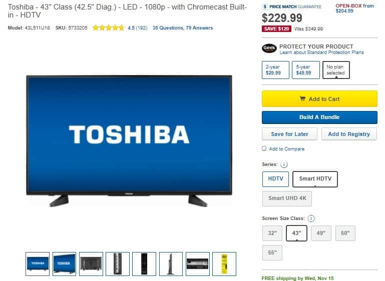 Toshiba - 43 Class LED - 1080p with Chromecast Built-in - HDTV - Model 43L511U18 $229.99. More savings with Cashstar offer for Best Buy GC purchase - $15 GC back on $150