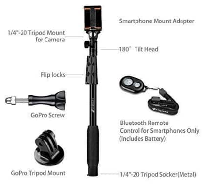 Selfie Stick, Arespark Wireless Bluetooth  Selfie Stick with Adjustable Phone Holder $10.79