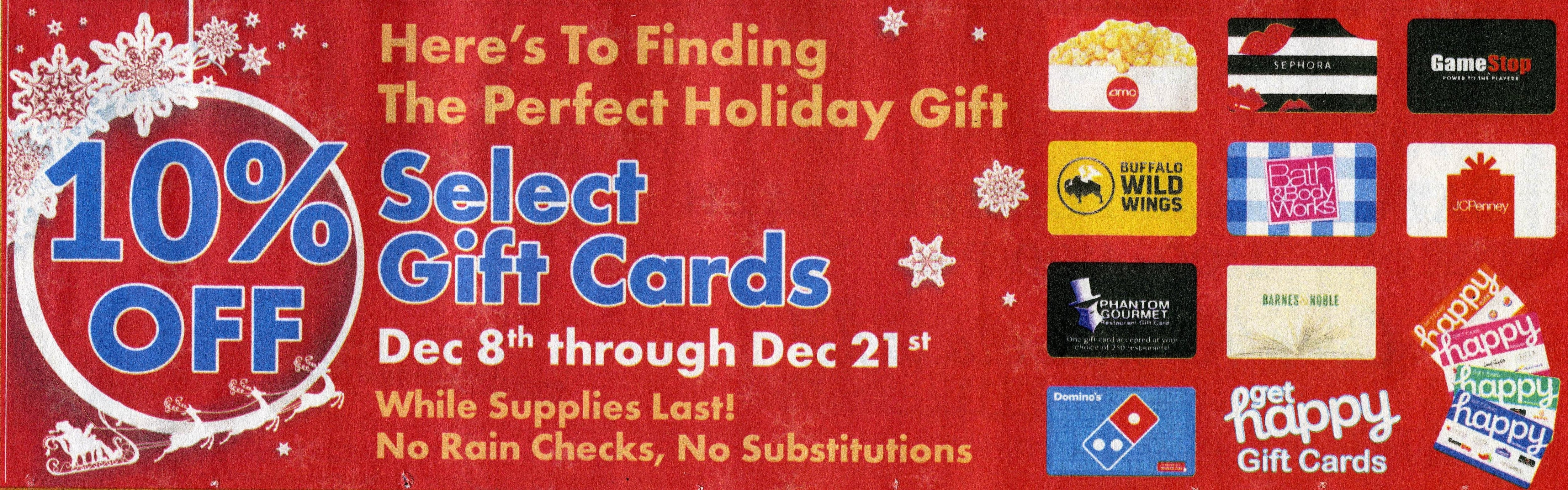 MA, NH, ME, RI: Market Basket: 10% off select gift cards 12/8 to 12/21