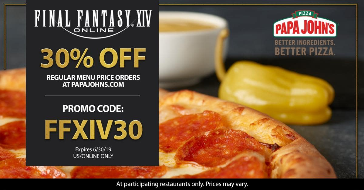 Papa John's 30% off menu priced items with code until June 30th