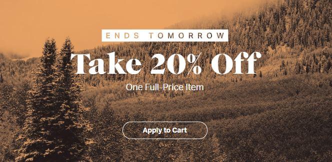 Backcountry 20% Off 1 Full-Price Item