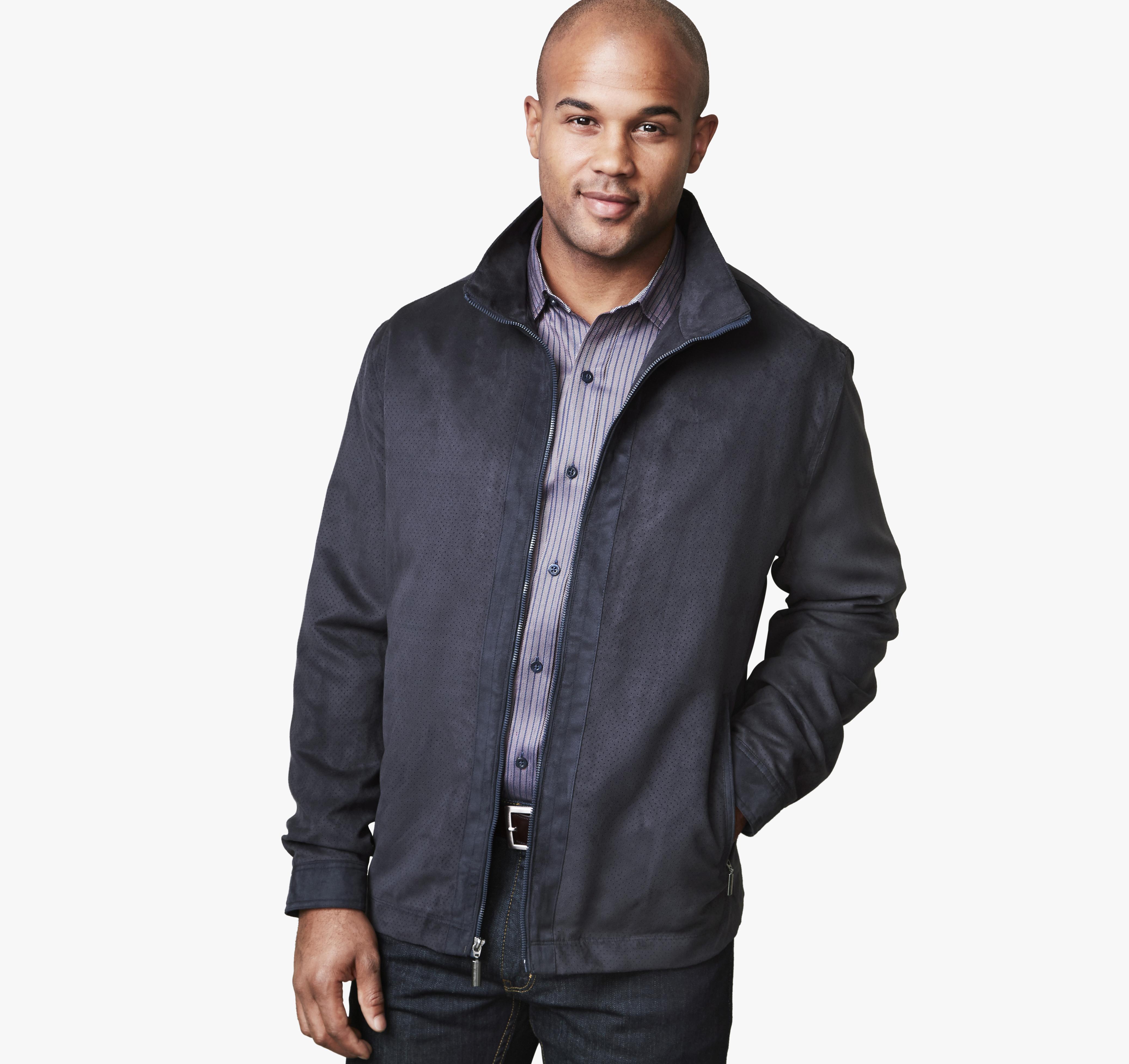 Johnston & Murphy Micro Suede Perf Jacket (Navy) $64