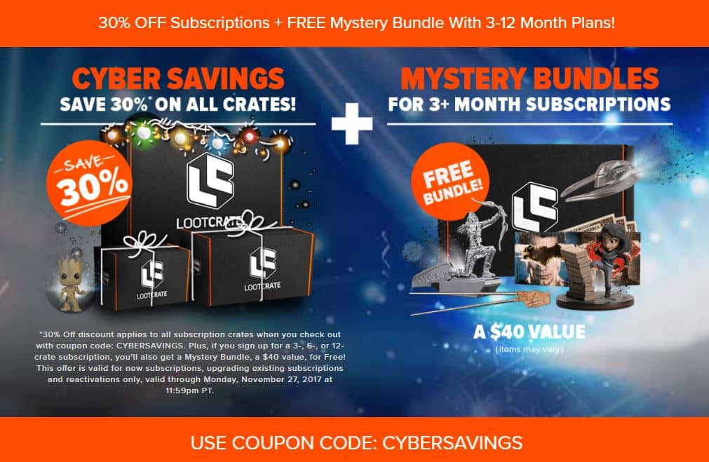 Lootcrate 30% Off All Crate Subscriptions + 1 Free Mystery Bundle for 3+ Month Subscriptions
