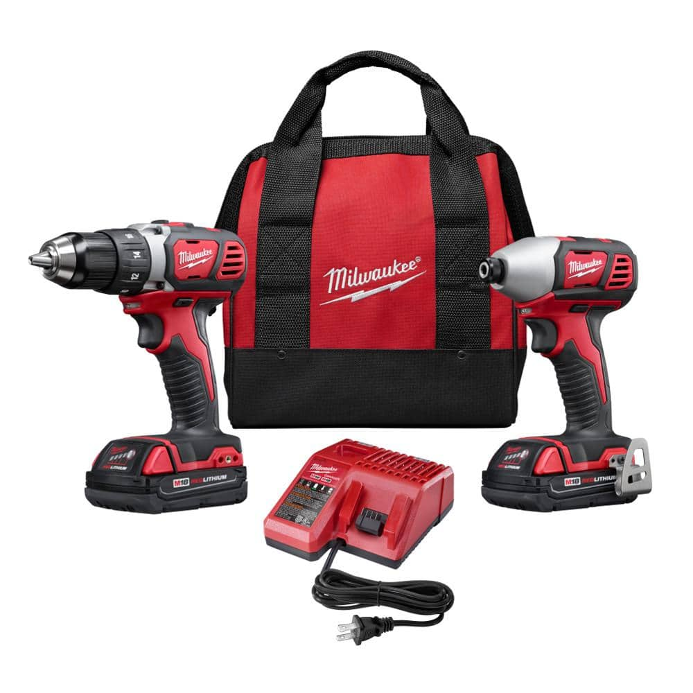 Milwaukee M18 Drill Kit, Compact + Hex Impact Driver $129