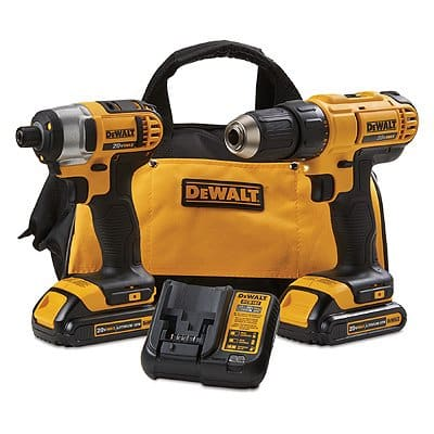 DeWalt Max Drill/Driver Combo Kit, Cordless /w 20-Volt Lithium-Ion $134