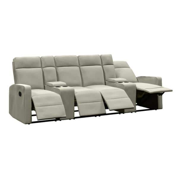 $811.75 - 4-Seat Reclining Sofa 114 in. Wide with 2-Storage Consoles in Tan Chenille