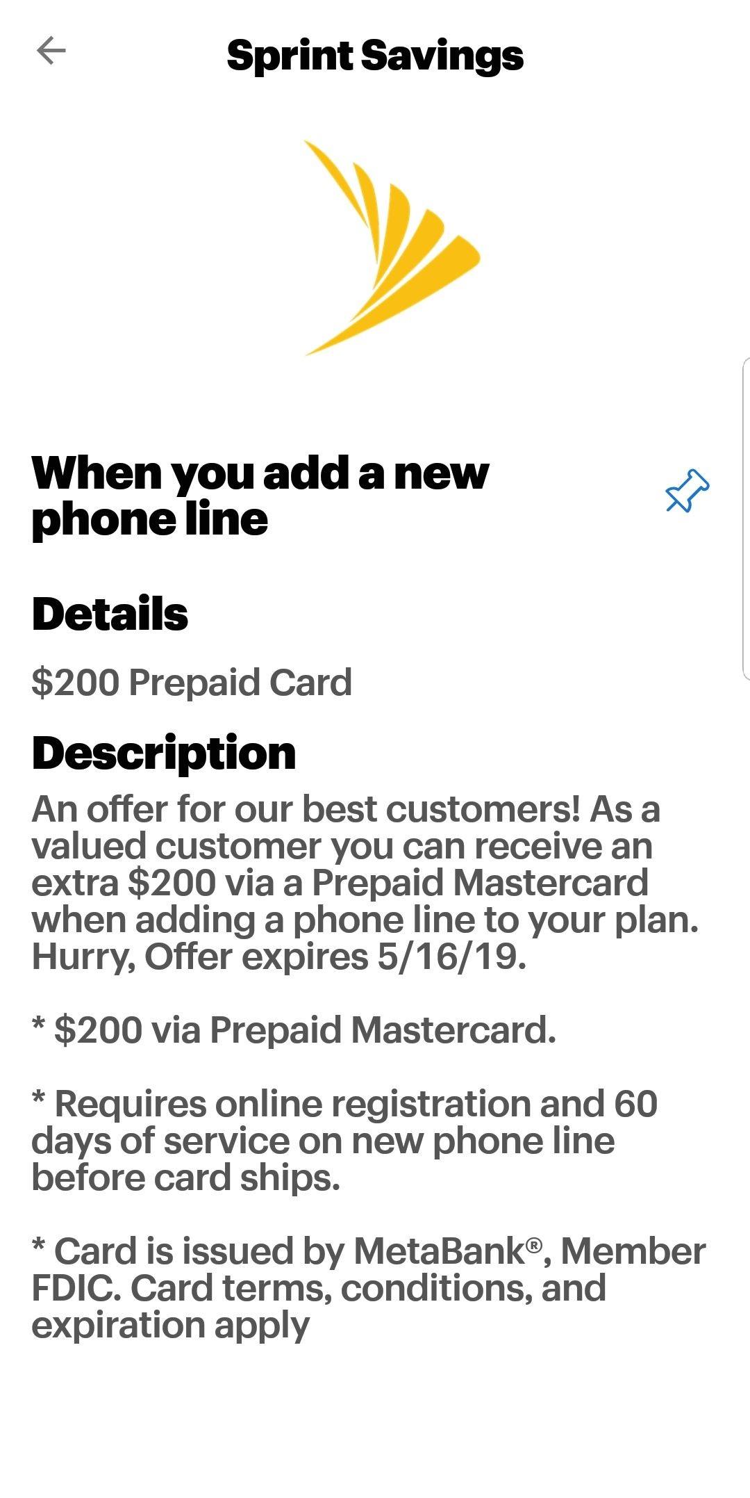 Sprint Savings: $200 Prepaid Card when you add a new line