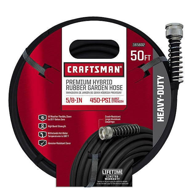 "Craftsman 5/8"" x 50' Hybrid Rubber Pro Garden Hose at Sears $18 $15"