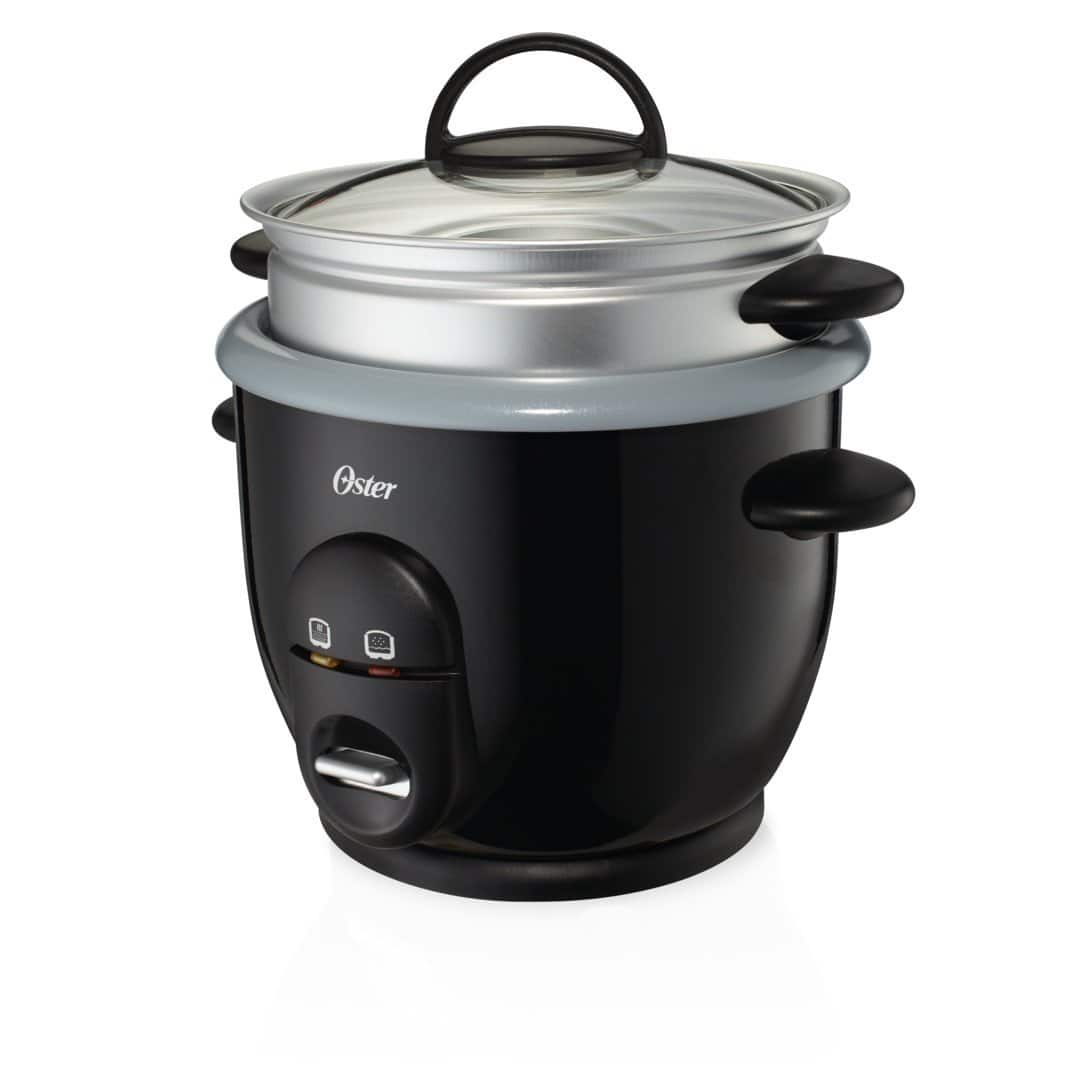 72% off Oster CKSTRC61K-TECO Titanium Infused 6 Cup Rice & Grain Cooker with Steam Tray, Medium/One Size, Silver/Black $9.99