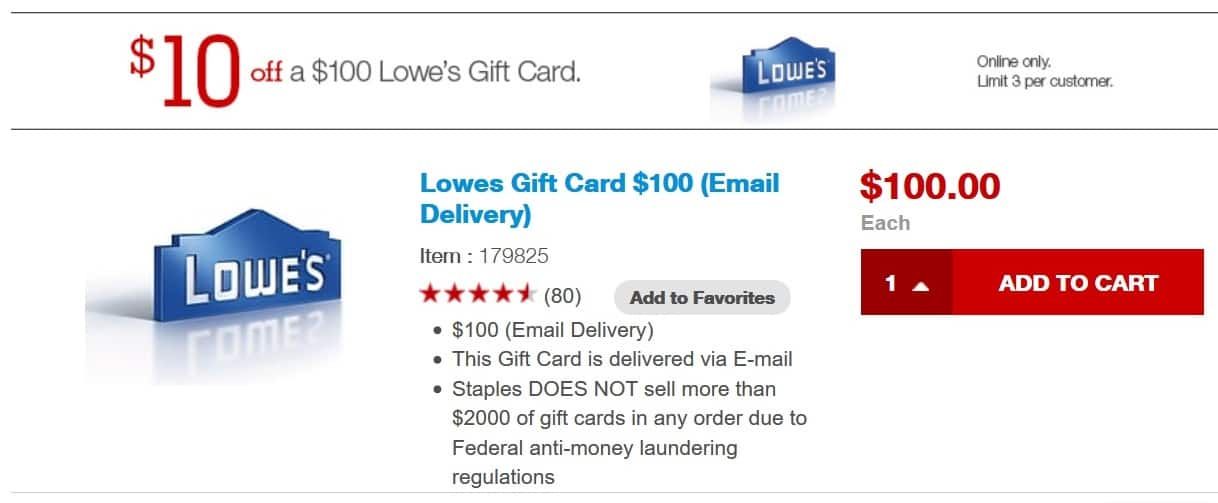 $100 Lowe's Gift Card (Email Delivery) for $90 at Staples Not Live Yet