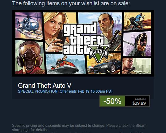 Grand Theft Auto 5 - Steam / Valve - $29.99 - 50 % Off - Ends Feb. 19, 2018