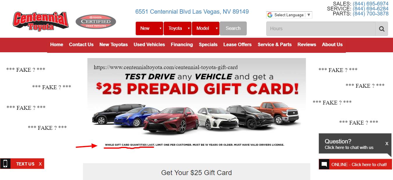 Centennial Toyota 25 00 Test Drive Gift Card Offer Las Vegas Nv