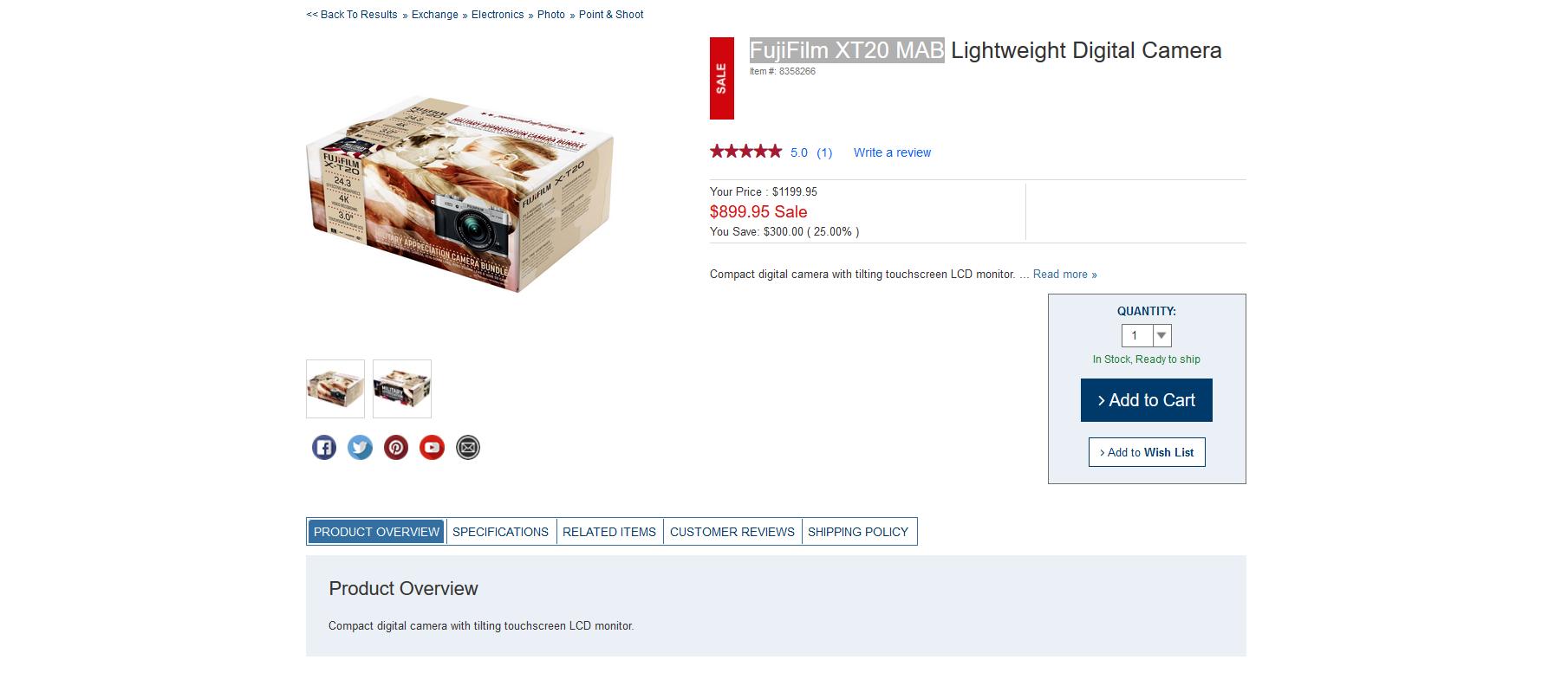FujiFilm XT20 MAB $899.94