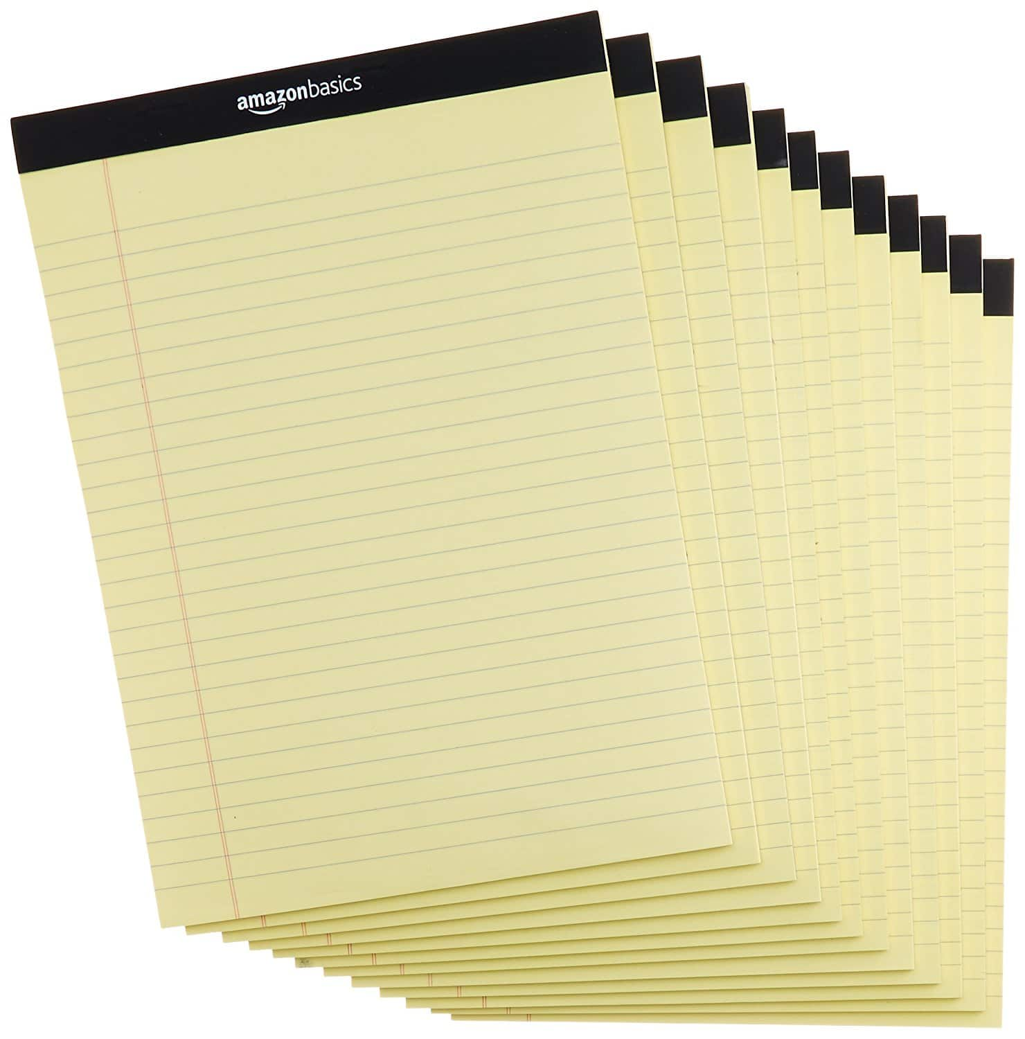Legal/Wide Ruled 8-1/2 by 11-3/4 Legal Pad - Canary (50 sheets per pad, 12 pack) $11.99