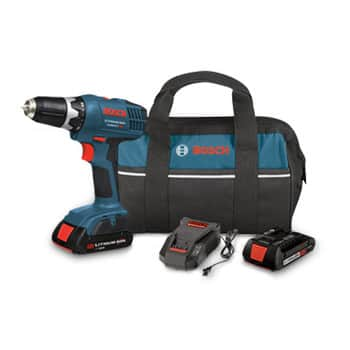 Bosch 18V 1.3 Ah Lithium-Ion 3/8 in. Drill Driver Kit with 2 batteries, charger and bag - $69.99 @ CPO Outlets