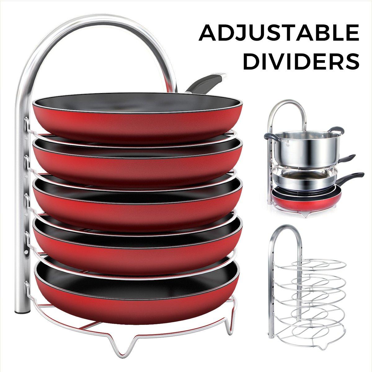 5-Tier Adjustable Stainless Steel Pan/Pot Organizer, $16.99