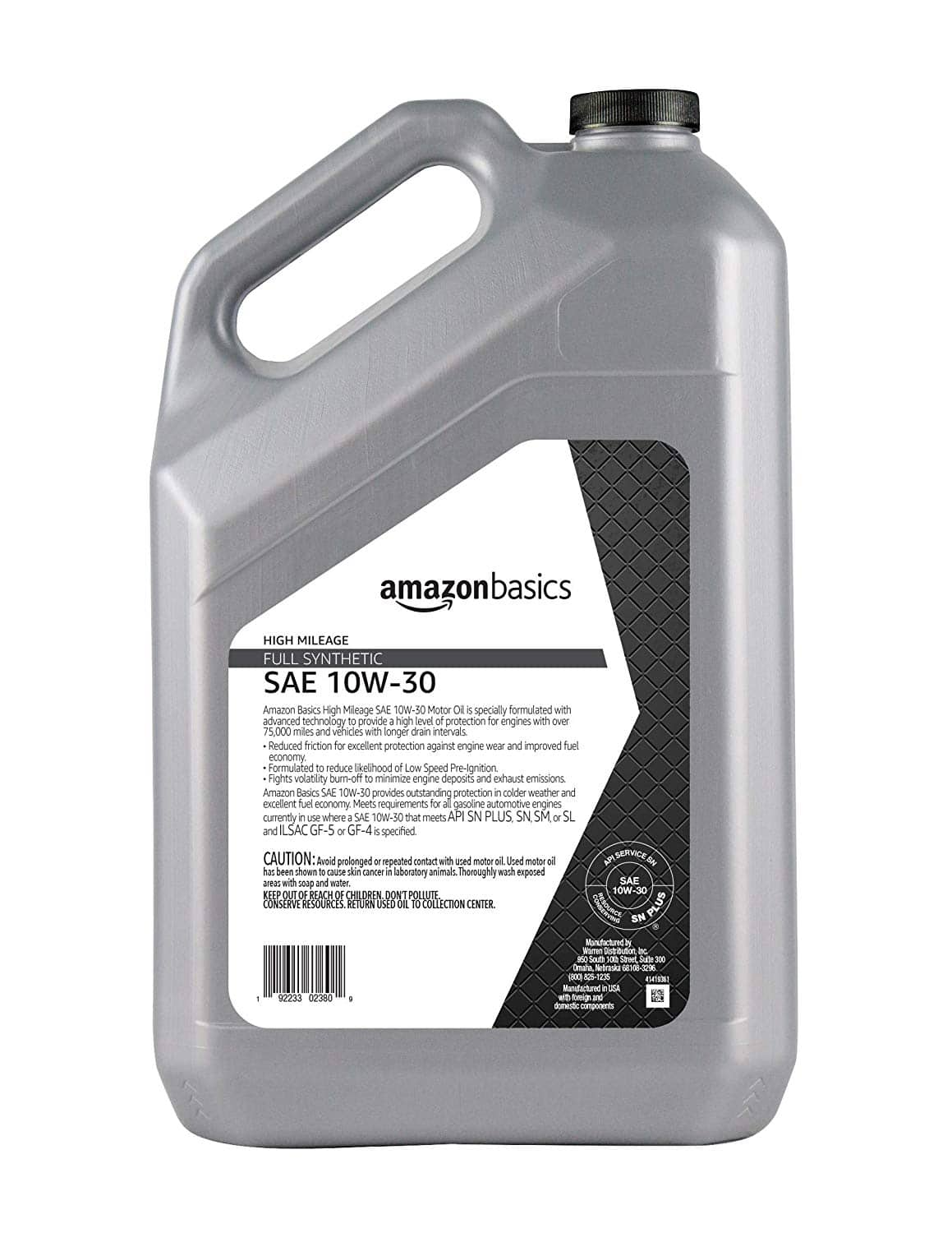 5 Quart AmazonBasics High Mileage Full Synthetic Engine Oil, 10W-30 / 5W-20 / 5W-30, $16.14