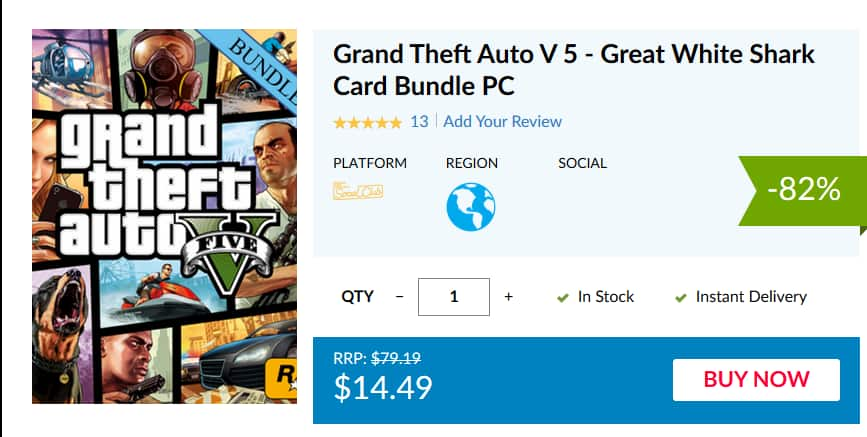 Grand Theft Auto V 5 - Great White Shark Card Bundle PC $14 49
