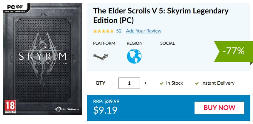 The Elder Scrolls V 5: Skyrim Legendary Edition (PC) $9 19